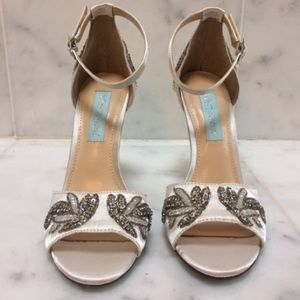 Betsey johnson off white satin beaded shoes